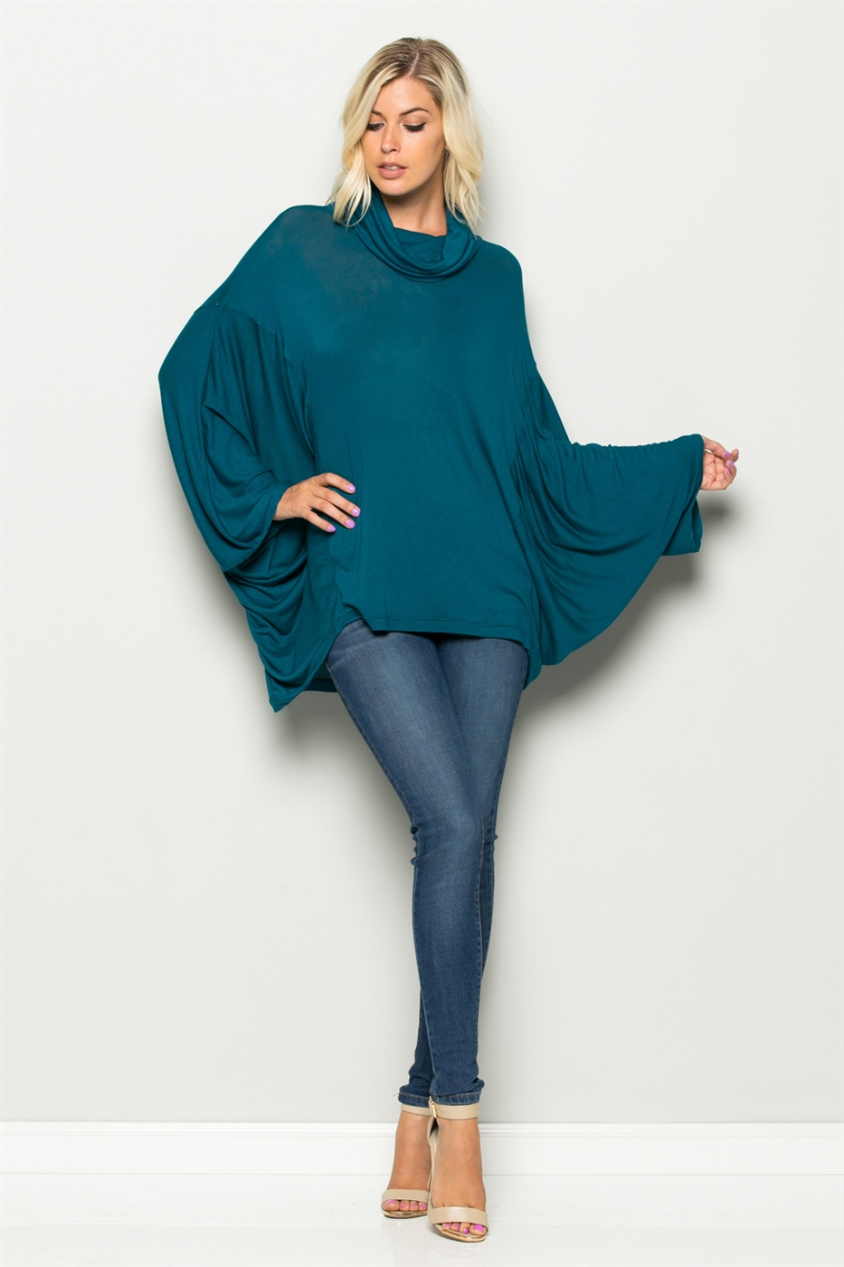 Cowl Neck Dolman Sleeve Top - orangeshine.com