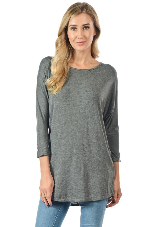 Dolman 3/4 Sleeve Tunic Top - orangeshine.com