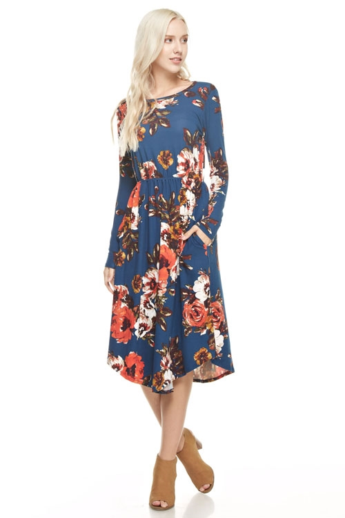 floral round hem pocket dress - orangeshine.com