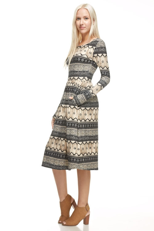 fit and flare aztec dress  - orangeshine.com