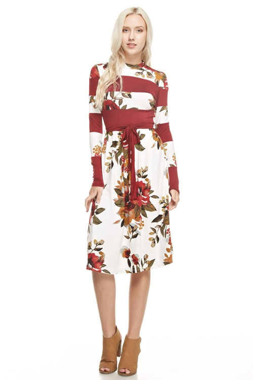 color blocked floral dress - orangeshine.com