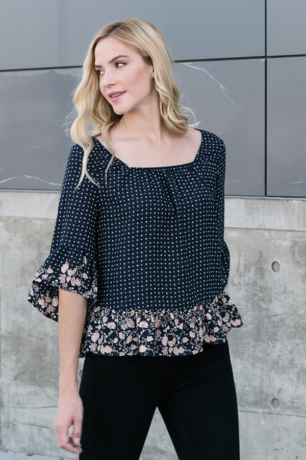 Printed Ruffle Floral Trim Top - orangeshine.com