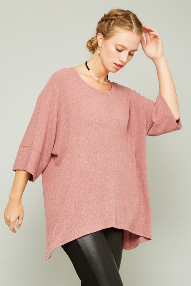 WIDE BAND SLEEVE KNIT TOP - orangeshine.com
