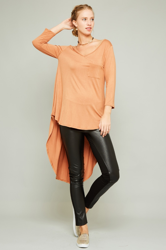 3/4 SLEEVE BACK SHIRRING TOP - orangeshine.com