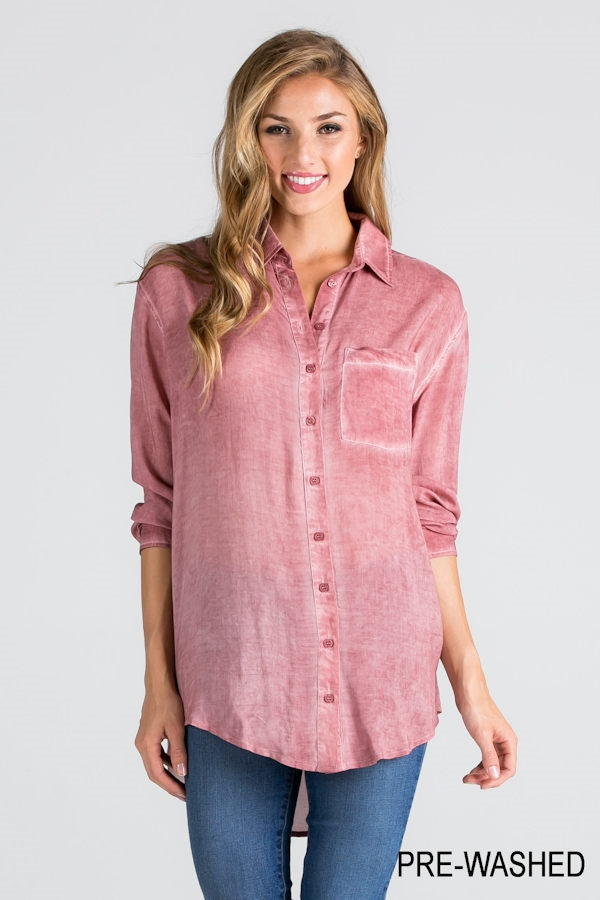HI-LOW WASHED BUTTONDOWN SHIRT - orangeshine.com