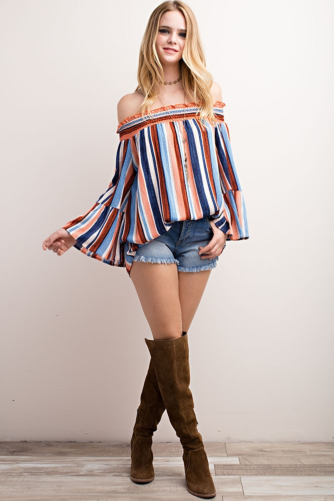 STRIPED OFF-THE-SHOULDER TOP - orangeshine.com