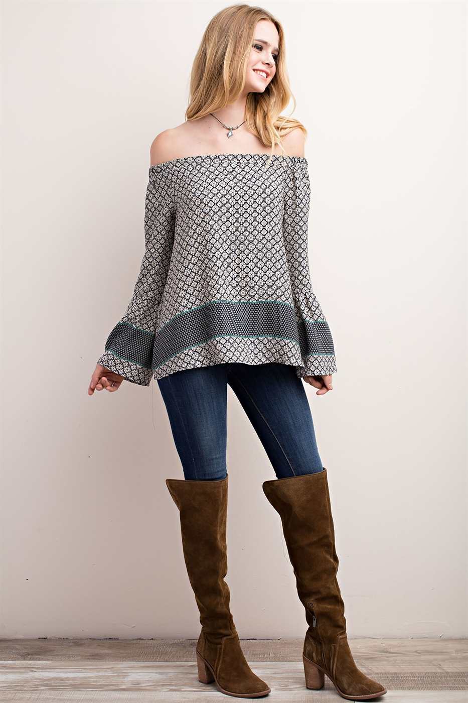 BORDER PRINT OFF-THE-SHOULDER  - orangeshine.com