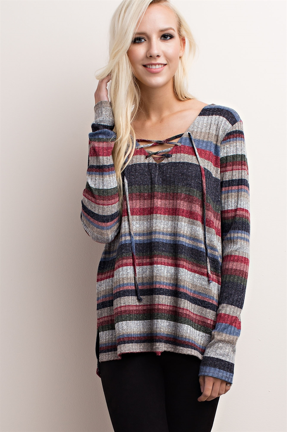 STRIPED LACE-UP KNIT TOP - orangeshine.com