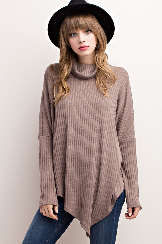 RIBBED KNIT TURTLENECK ASYMMET - orangeshine.com