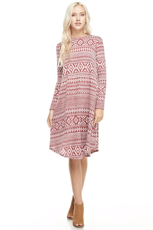 light-weight Aztec Knit Dress - orangeshine.com
