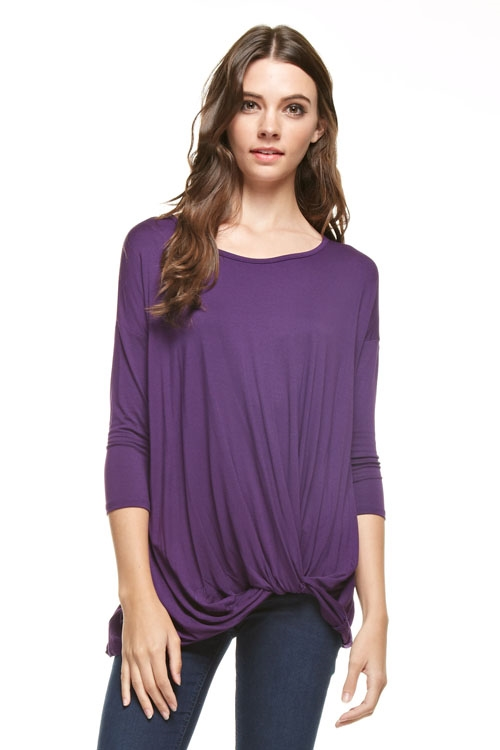 3/4 sleeve knot tunic top - orangeshine.com