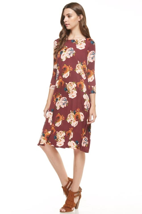 floral long dress - orangeshine.com