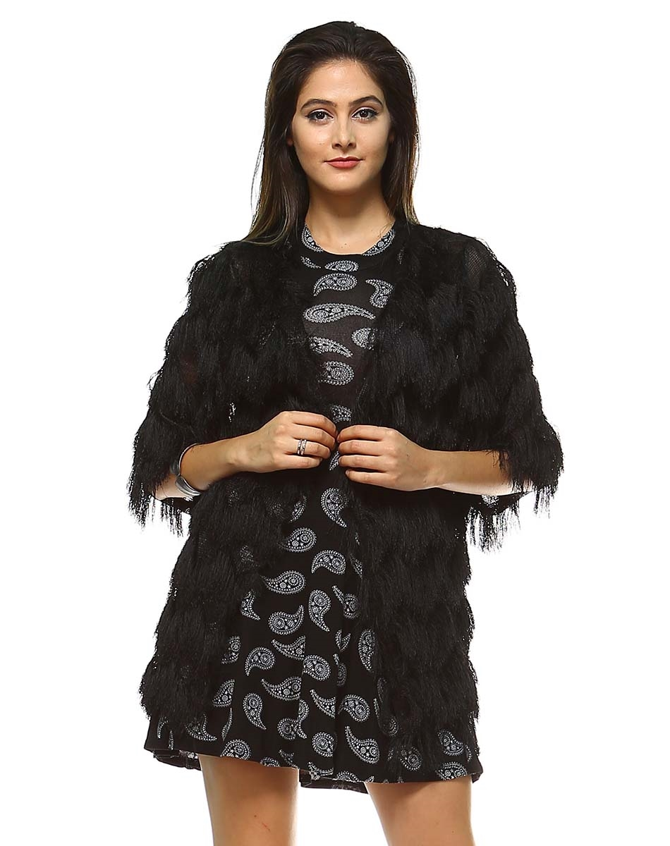 WOMAN CARDIGAN FUR BLACK - orangeshine.com