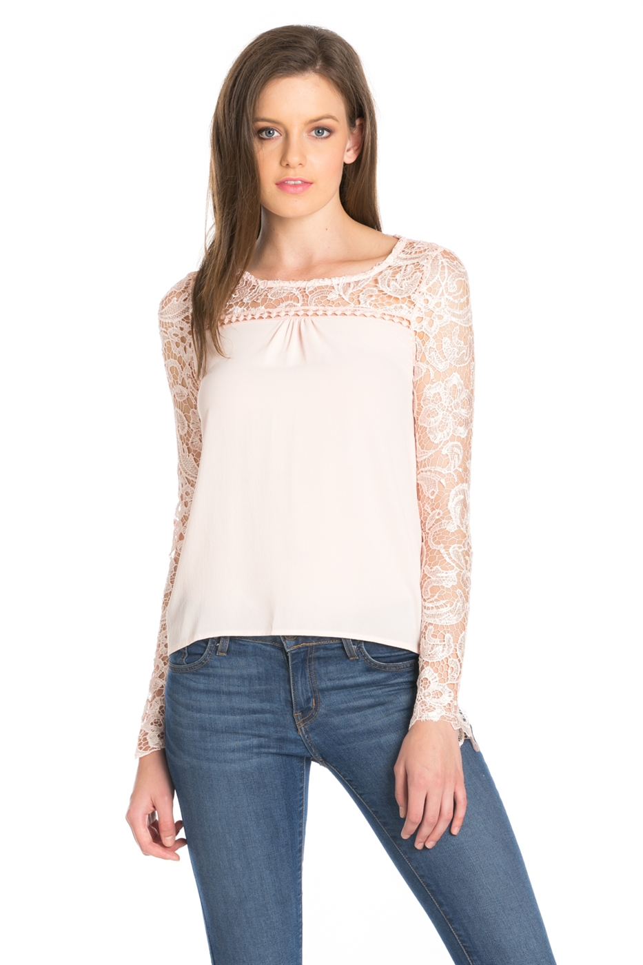 LONG SLEEVE CROCHET NECK TOP - orangeshine.com