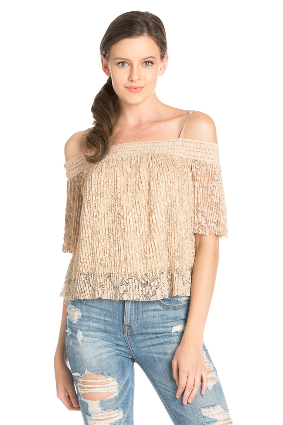 PLEATED OFF SHOULDER LACE TOP - orangeshine.com