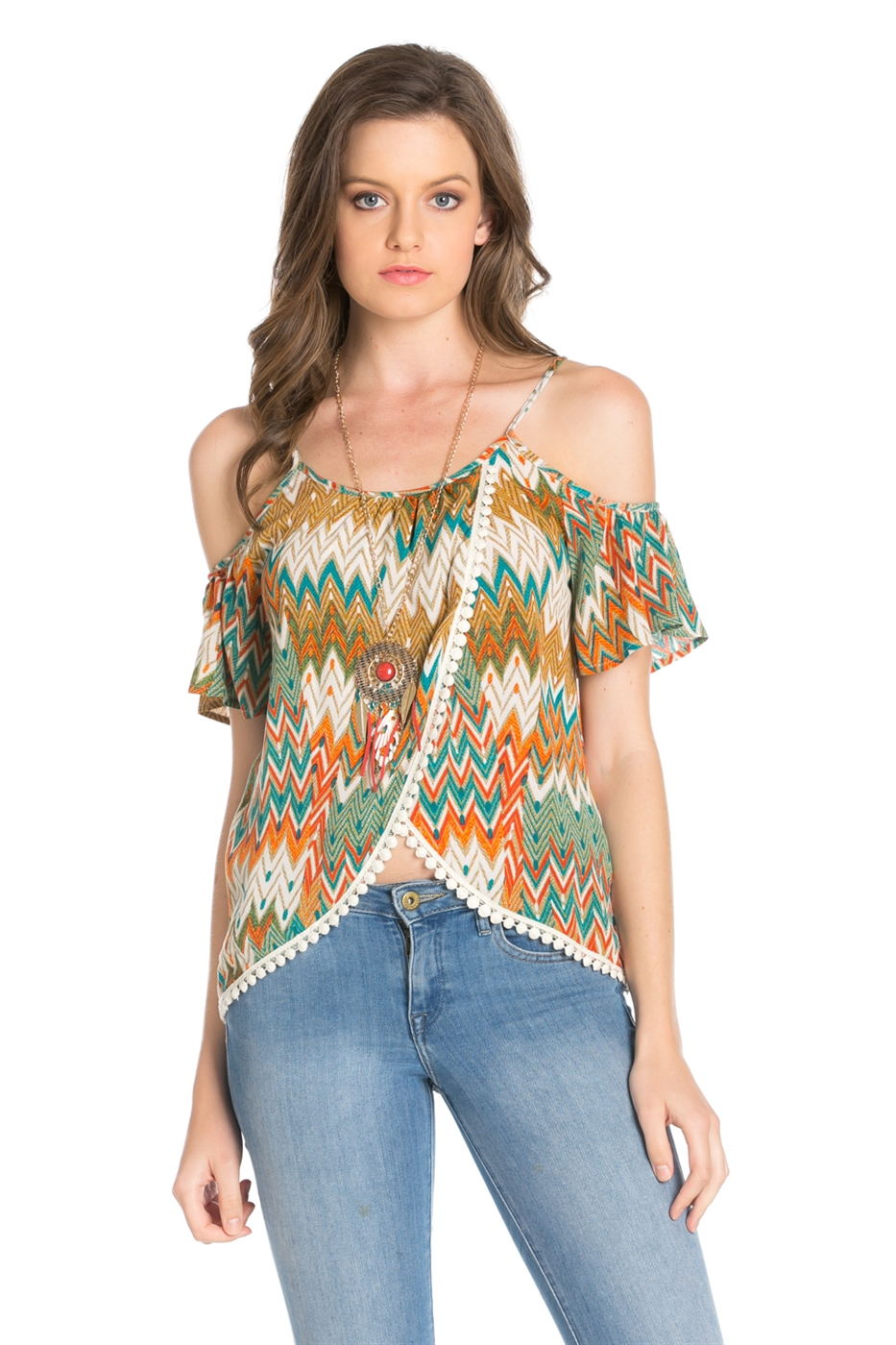 ETHNIC PRINTED CAP SLEEVED TOP - orangeshine.com