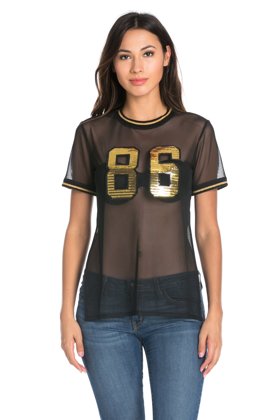 POWER MESH GOLD PATCH TOP - orangeshine.com