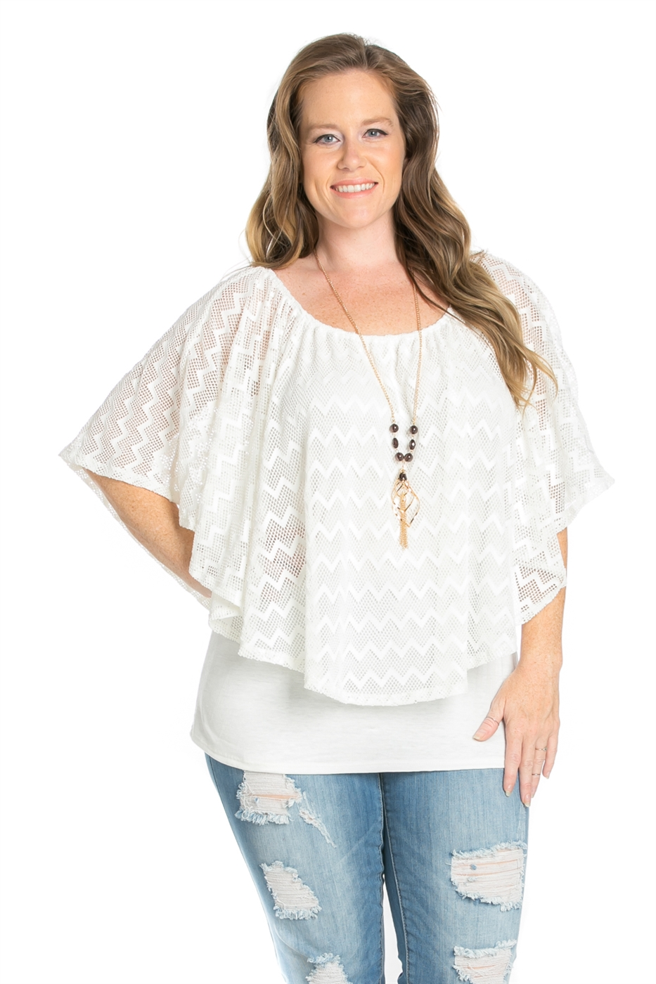 CROCHET LACE TOP WITH NECKLACE - orangeshine.com
