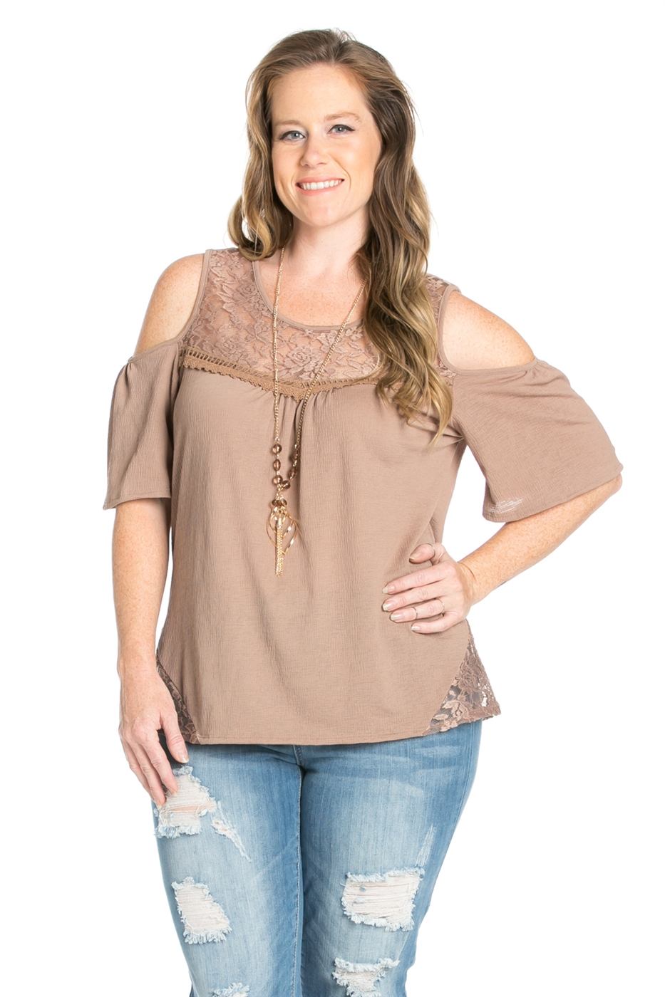 CAP SLEEVE TOP WITH LACE TRIM - orangeshine.com