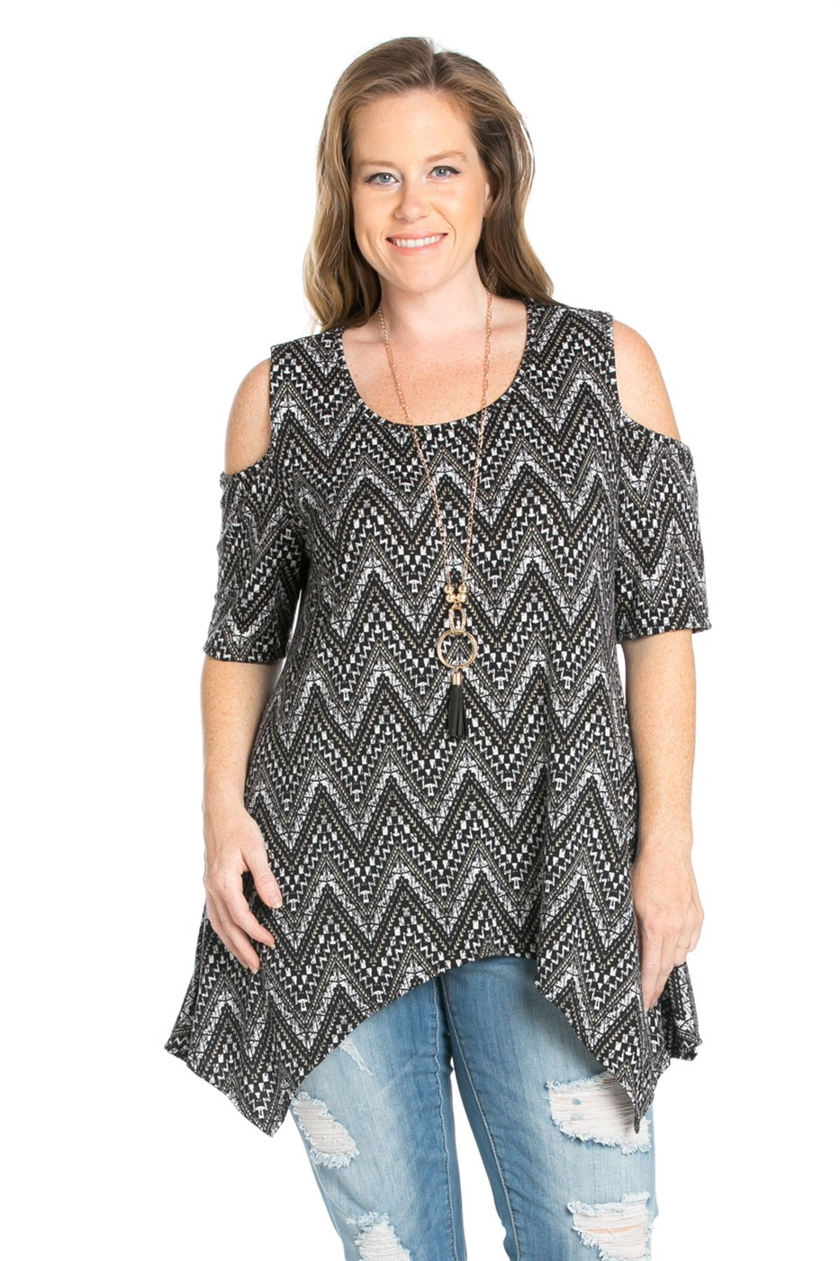 PLUS SIZE TRIBAL PRINT TOP - orangeshine.com