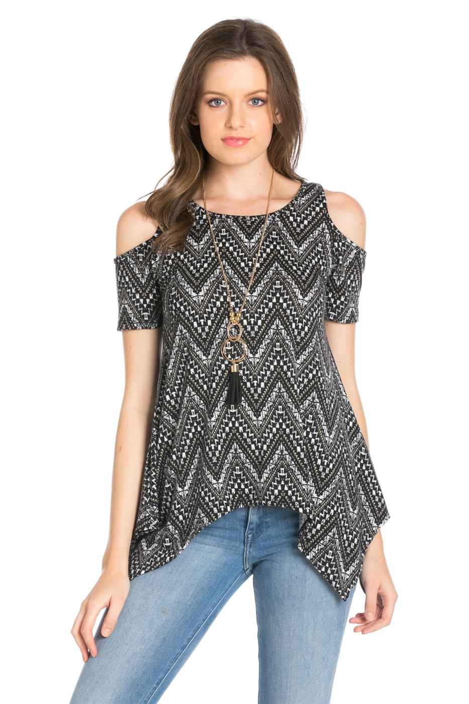 TRIBAL PRINT CAP SLEEVE TOP - orangeshine.com