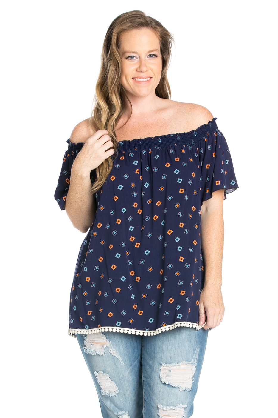 OFF SHOULDER PRINTED TOP - orangeshine.com