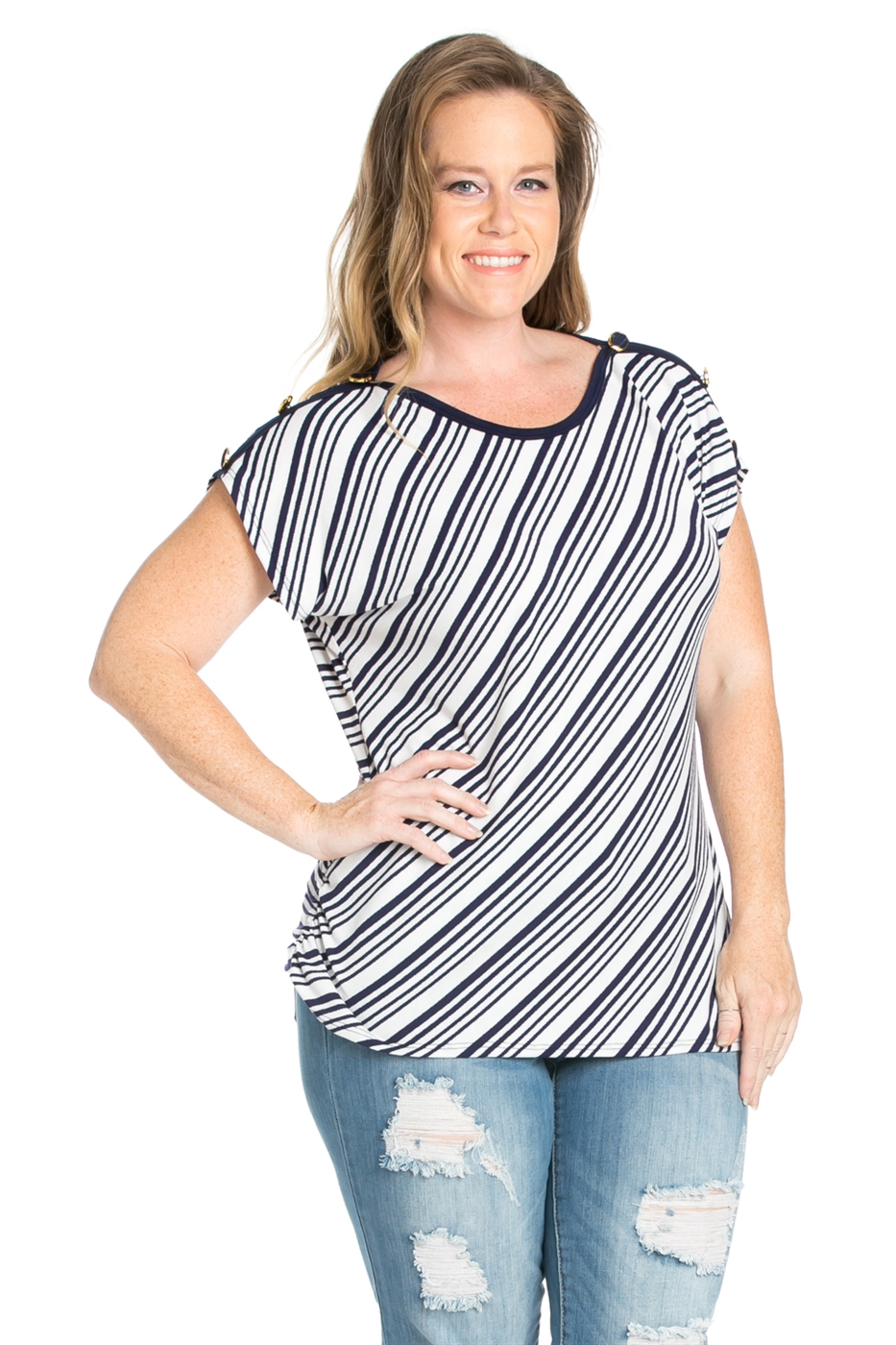STRIPE SHOULDER BUTTONS TOP - orangeshine.com
