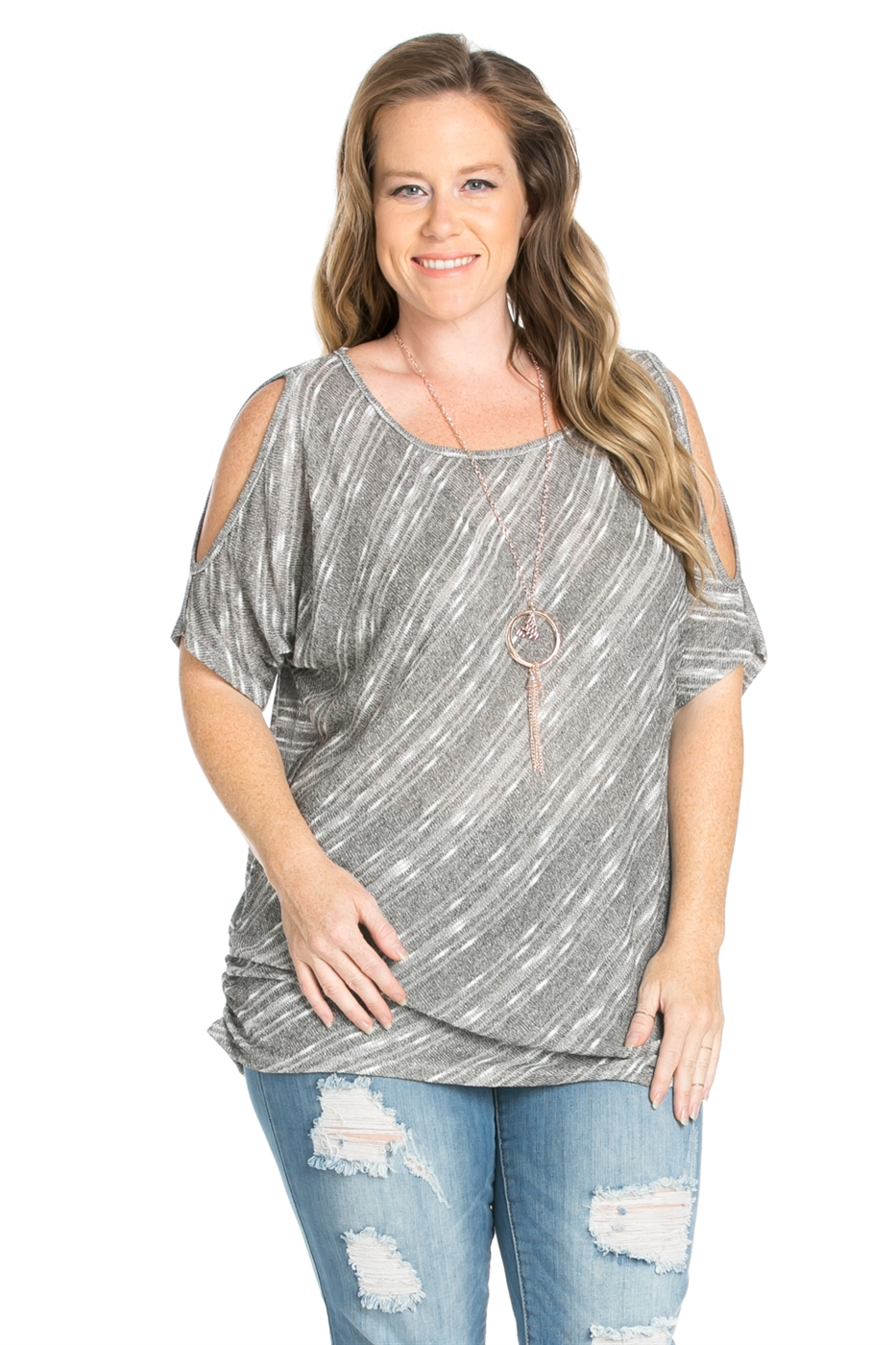 HACCI STRIPE PRINTED TOP - orangeshine.com