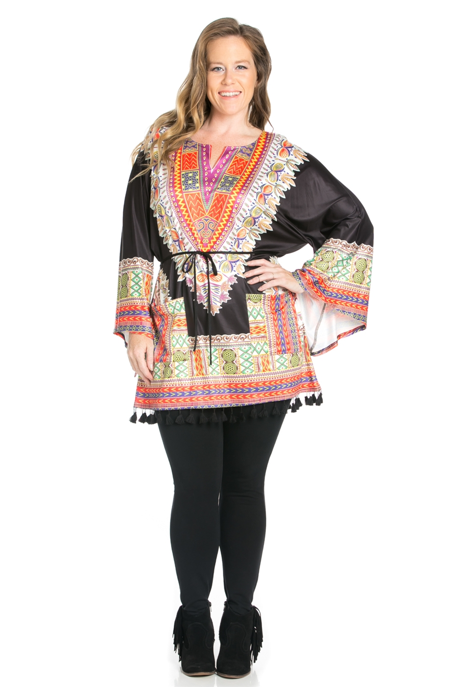 TASSEL HEM LONG SLEEVE TOP - orangeshine.com