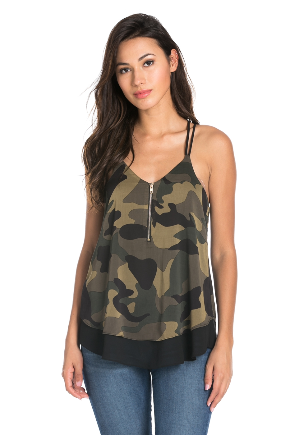 CAMO PRINT SLEEVELESS TOP - orangeshine.com
