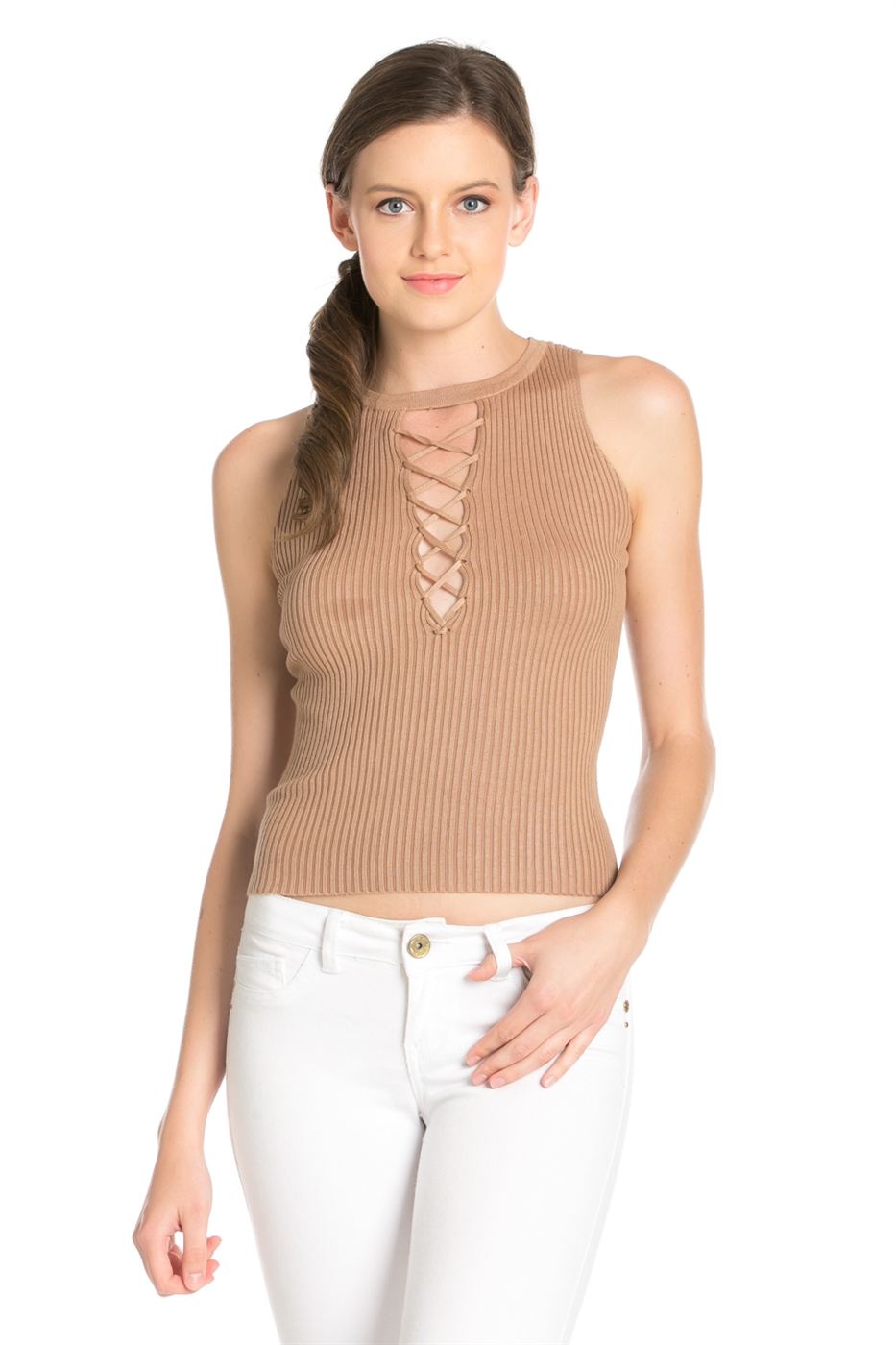 SLEEVELESS FRONT EYELET TOP - orangeshine.com