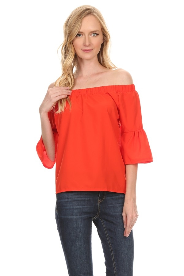 Off shoulder solid top - orangeshine.com
