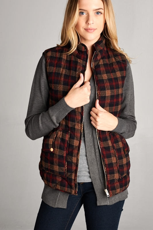 PLAID PADDING VEST - orangeshine.com