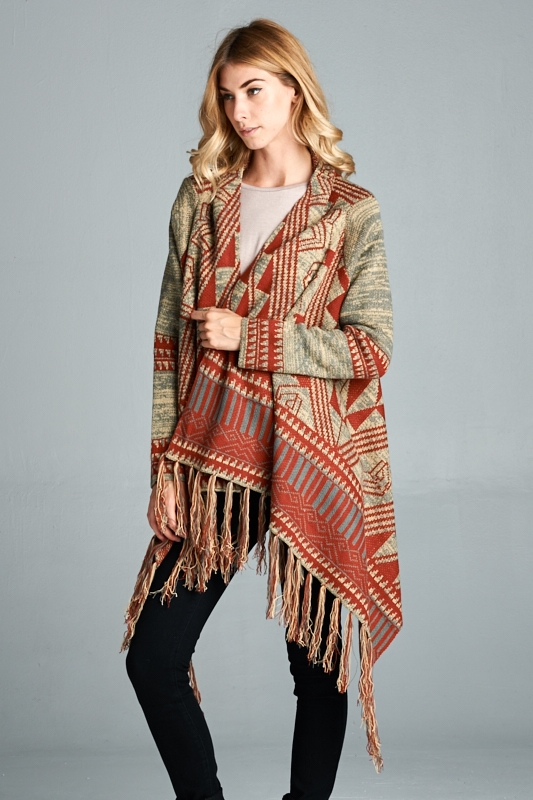 TRIBAL PRINTED CARDIGAN - orangeshine.com