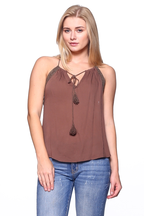 TASSLE NECK LINE SLEEVELESS - orangeshine.com