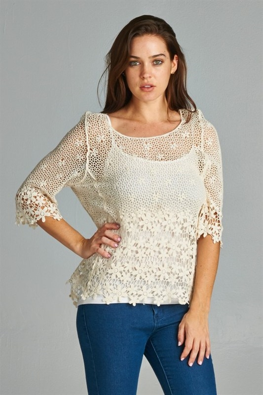 boho lace top - orangeshine.com