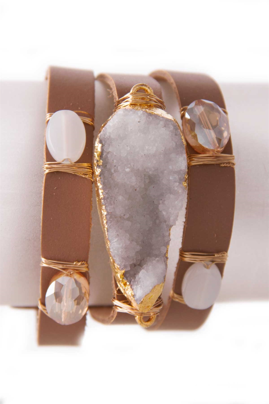 DRUZY DESIGN LEATHER BRACELET - orangeshine.com