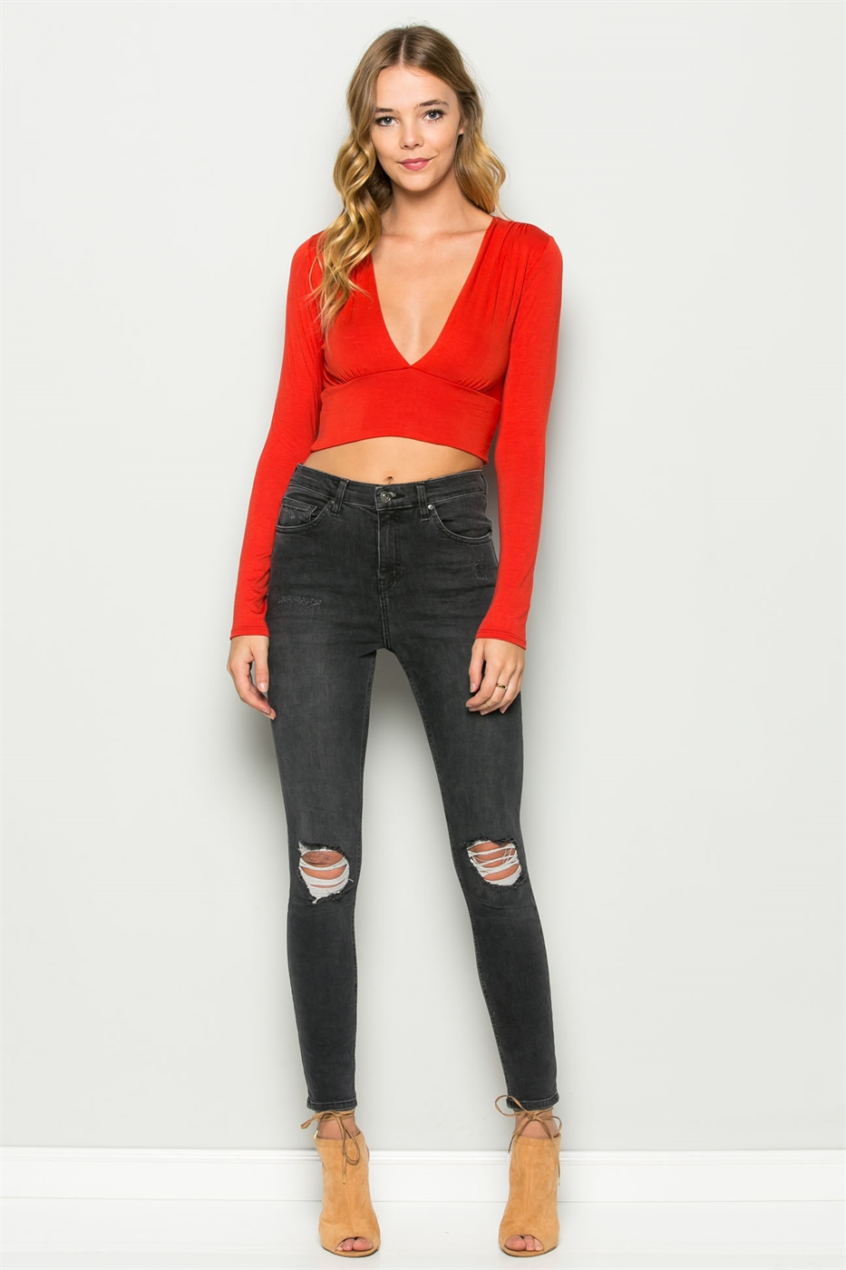 L/S FRONT LAYERED PLUNGED TOP - orangeshine.com
