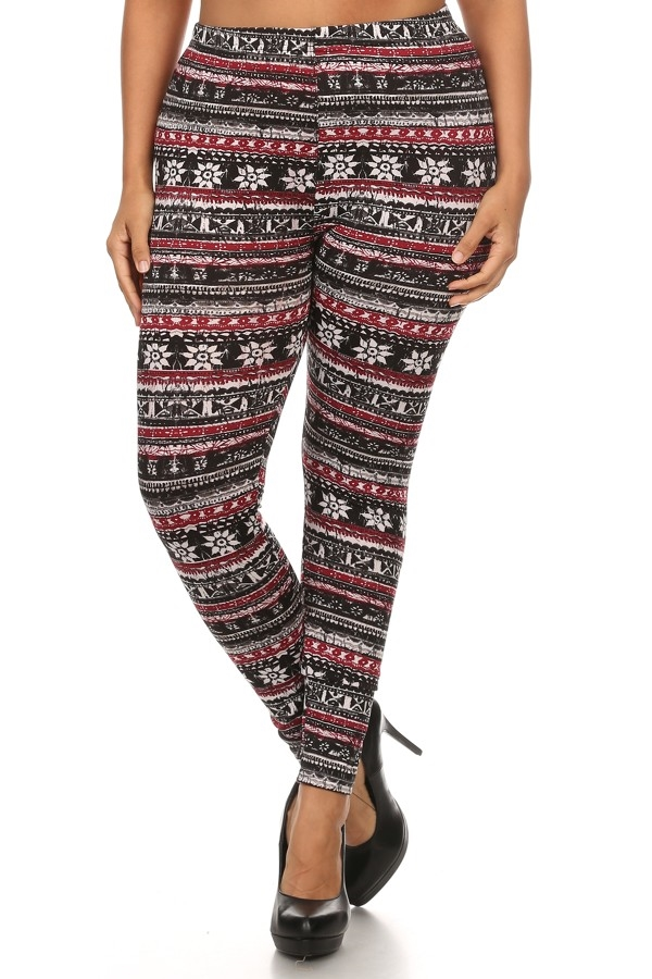 Plus Size Fleece Leggings Xmas - orangeshine.com