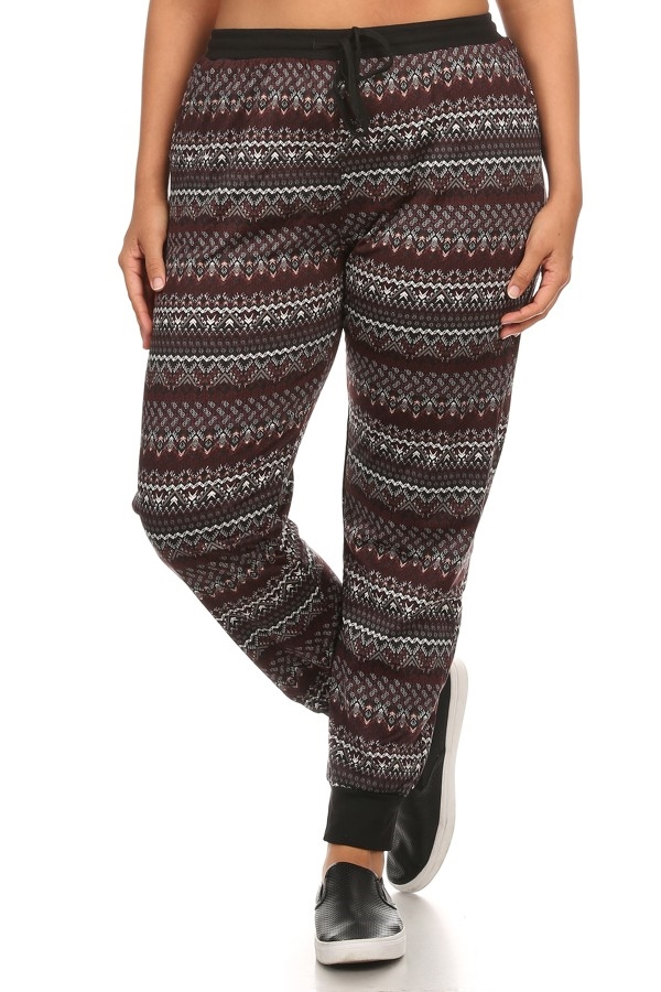 Plus Aztec Joggers Pants Fleec - orangeshine.com