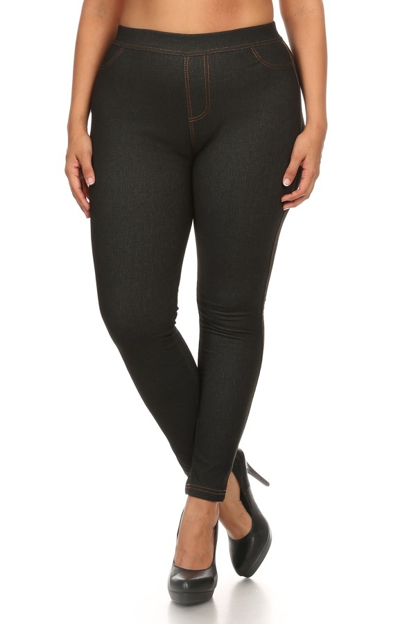 Plus Size Fleece Jegging Black - orangeshine.com