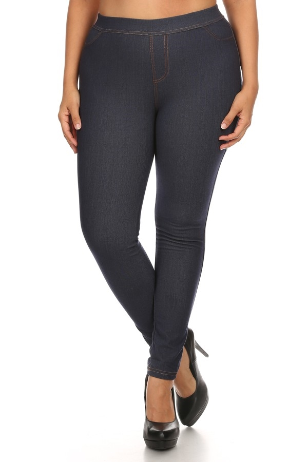 Plus Size Fleece Jeggings Navy - orangeshine.com