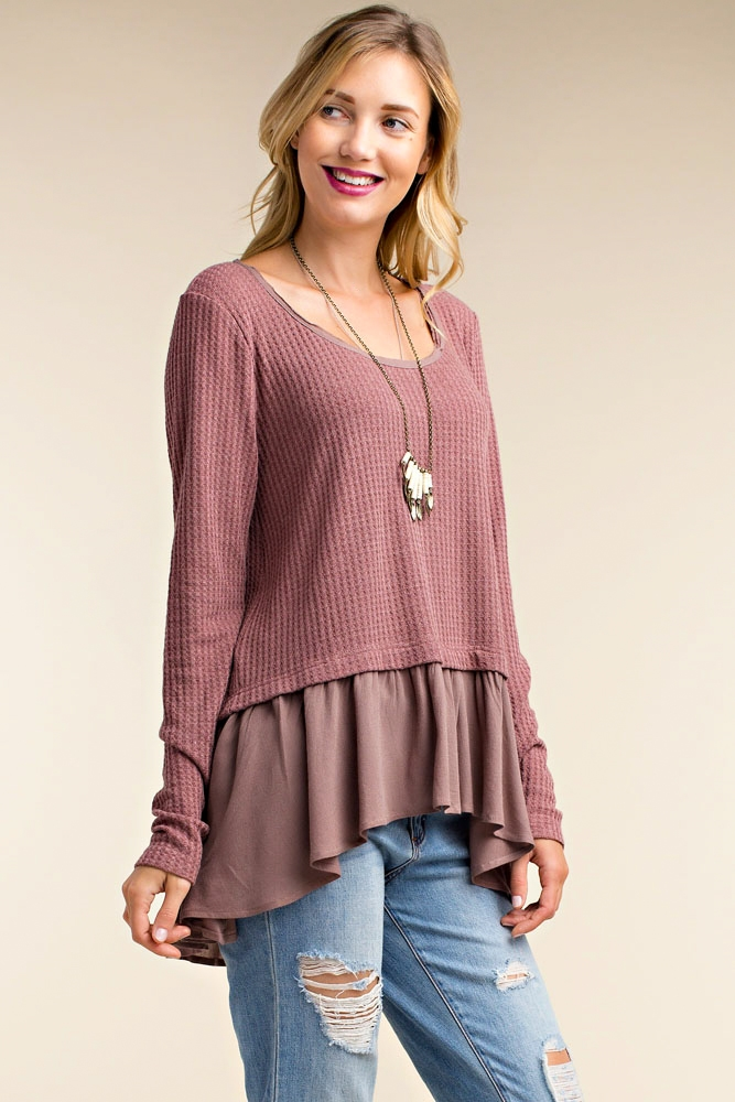 KNIT TOP WITH CONTRAST RUFFLES - orangeshine.com