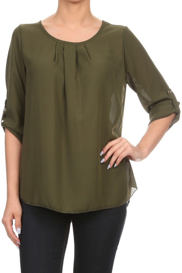 Made in USA Relaxed Tops Olive - orangeshine.com