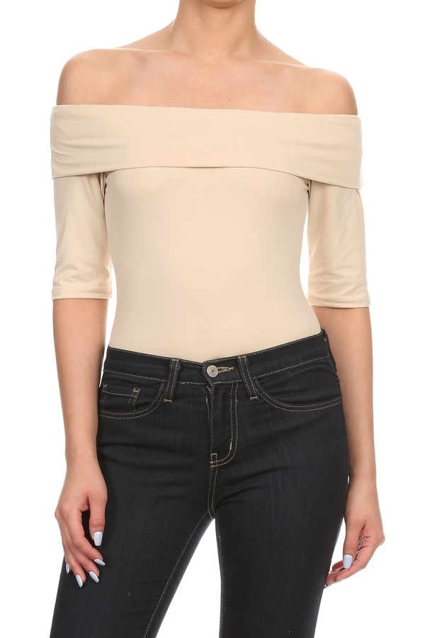 Bodysuits Off Shoulder Beige - orangeshine.com