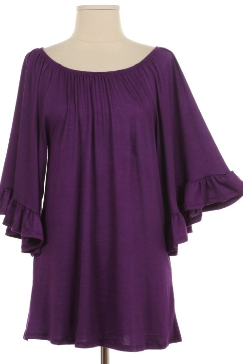 PLUS WIDE SLEEVE RAYON TOP - orangeshine.com