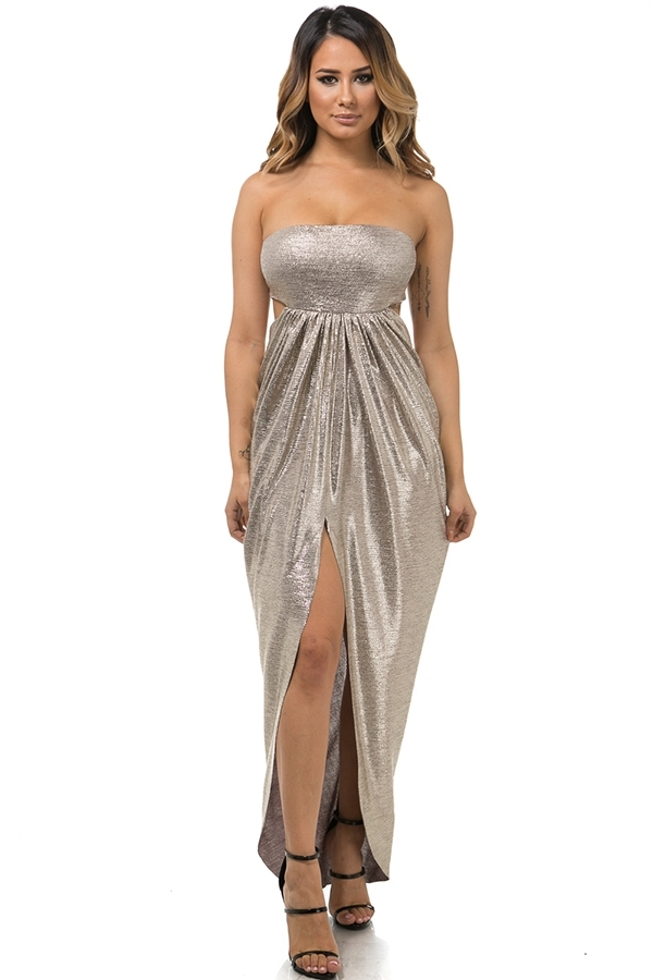 Draped back foil dress - orangeshine.com