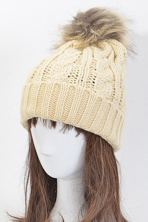 Knitted Beanie with Fur Ball - orangeshine.com