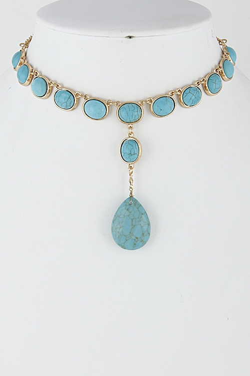 Western Faux Stone Necklace - orangeshine.com