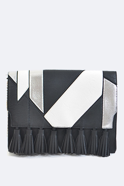 Tasseled Flap Envelope Clutch - orangeshine.com